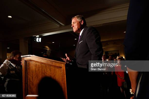 Senator Richard Burr addresses supporters as he celebrates his reelection to the US Senate at his election night watch party on November 8 2016 in...