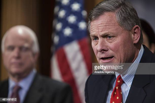 Senator Richard Burr speaks at a press conference with Senator Lindsey Graham Senator John McCain and Senator Kelly Ayotte to announce new proposed...