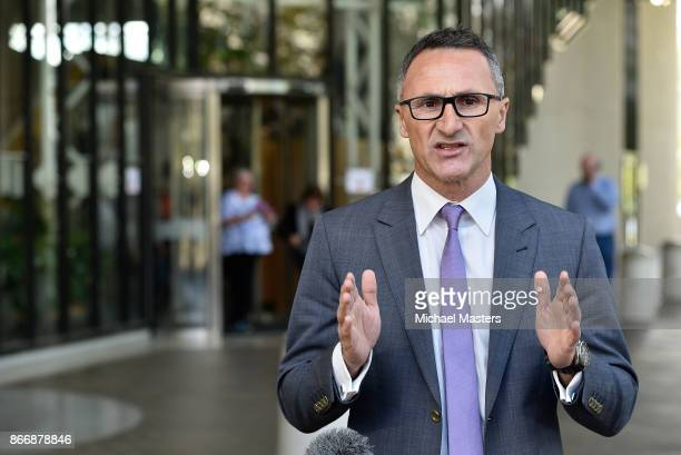 Senator Richard Di Natale Leader of the Australian Green delivers a press conferance outside the High Court on October 27 2017 in Canberra Australia...