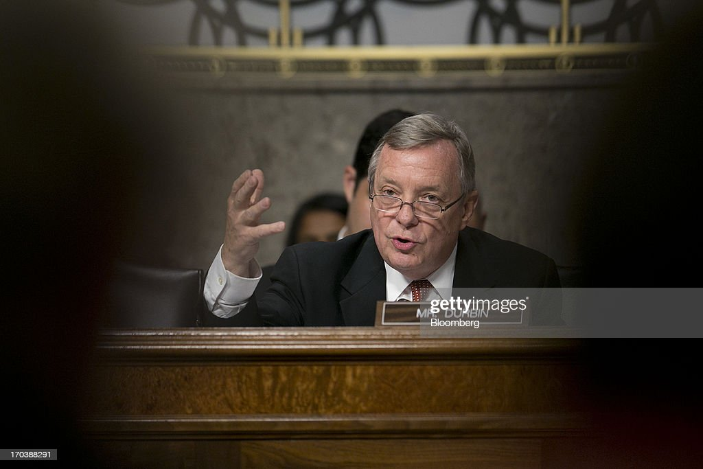 Senator Richard 'Dick' Durbin, a Democrat from Illinois, questions General Keith Alexander, director of the National Security Agency and commander of the U.S. Cyber Command, not pictured, during a Senate Appropriations Committee hearing in Washington, D.C., U.S., on Wednesday, June 12, 2013. Americans need to trust the government isn't violating their civil rights after a 29-year-old contractor exposed classified programs to collect broad Internet and telephone-call data, the National Security Agency's director said. Photographer: Andrew Harrer/Bloomberg via Getty Images