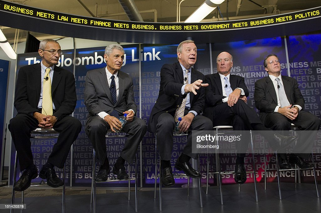 "U.S. Senator Richard Durbin, a Democrat from Illinois, center, speaks while <a gi-track='captionPersonalityLinkClicked' href=/galleries/search?phrase=John+Podesta&family=editorial&specificpeople=209397 ng-click='$event.stopPropagation()'>John Podesta</a>, chairman of the Center for American Progress, left to right, <a gi-track='captionPersonalityLinkClicked' href=/galleries/search?phrase=Robert+Rubin&family=editorial&specificpeople=209190 ng-click='$event.stopPropagation()'>Robert Rubin</a>, co-chairman of the Council on Foreign Relations, Bill Daley, former White House Chief of Staff, and Gene Sperling, director of the National Economic Council, listen during an event inside the Bloomberg Link during day three of the Democratic National Convention (DNC) in Charlotte, North Carolina, U.S., on Thursday, Sept. 6, 2012. Four years after the nation made history by electing him the first African-American president, Barack Obama asked for a second term with a pledge to keep rebuilding a battered economy in a way that ""may be harder but it leads to a better place."" Photographer: David Paul Morris/Bloomberg via Getty Images"