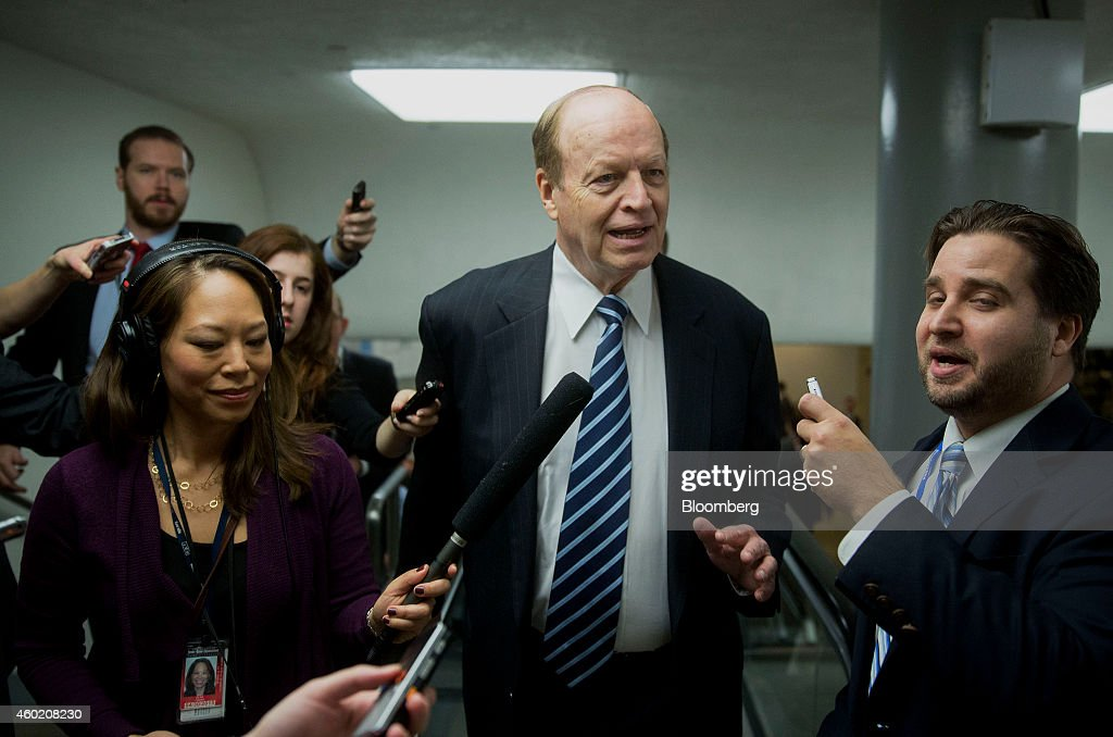 Senator <a gi-track='captionPersonalityLinkClicked' href=/galleries/search?phrase=Richard+Shelby&family=editorial&specificpeople=529578 ng-click='$event.stopPropagation()'>Richard Shelby</a>, a Republican from Alabama, speaks to reporters in the U.S. Capitol Building basement before voting in Washington, D.C., U.S., on Tuesday, Dec. 9, 2014. The CIA misled Congress and White House officials about its interrogations of terror suspects and mismanaged a program that was far more brutal and less effective than publicly portrayed, according to a report by Democrats on the Senate intelligence committee. Photographer: Andrew Harrer/Bloomberg via Getty Images