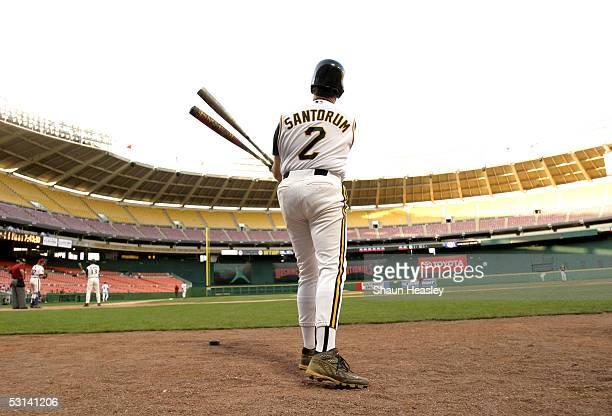 S Senator Rick Santorum waits on deck at the 44th Annual Congressional Baseball Game on June 23 2005 at RFK Stadium in Washington DC The Democrats...