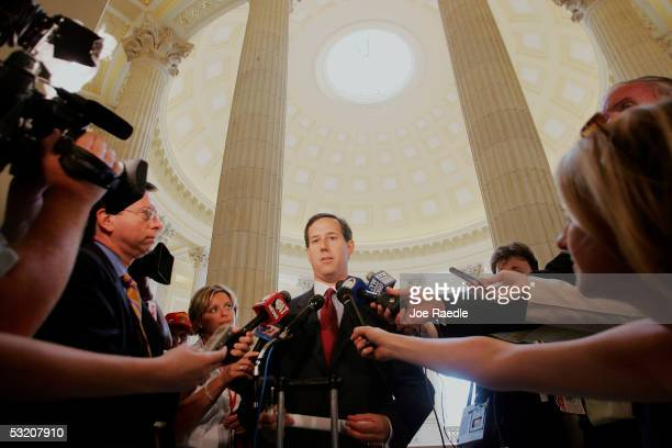 S Senator Rick Santorum speaks to the media after testifying at the Base Realignment and Closure Commission hearing July 7 2005 in Washington DC The...