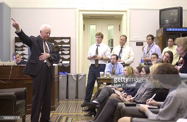 Senator Robert C Byrd in the Senate Press Gallery addressing the issue of or lack of national security and the Presidents and governments lack of...