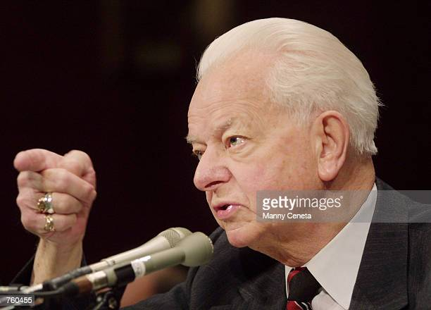 Senator Robert C Byrd testifies before the Senate Judiciary Subcommittee on Immigration during a hearing on the Enhanced Border Security and Visa...