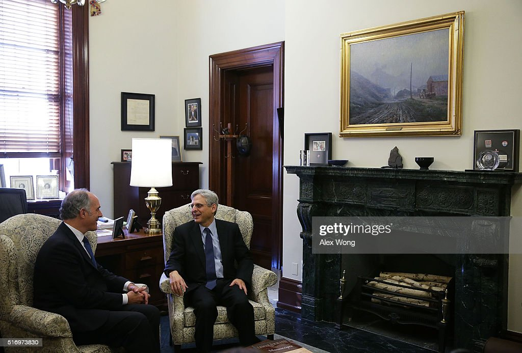 U.S. Senator Robert Casey (D-PA) (L) meets with Supreme Court nominee Merrick Garland (R) March 23, 2016 on Capitol Hill in Washington, DC. Garland continued to place visits to Senate members after heÕs nominated by President Barack Obama to succeed the late Justice Antonin Scalia.