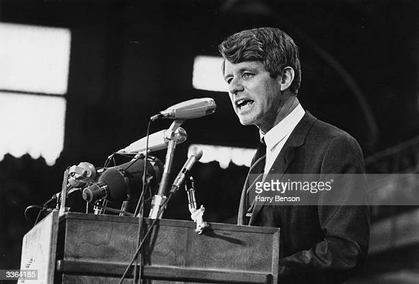 Senator Robert Kennedy speaking at an election rally