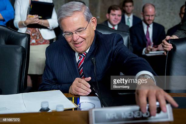 Senator Robert Menendez a Democrat from New Jersey arrives to a Senate Foreign Relations Committee hearing in Washington DC US on Thursday July 23...