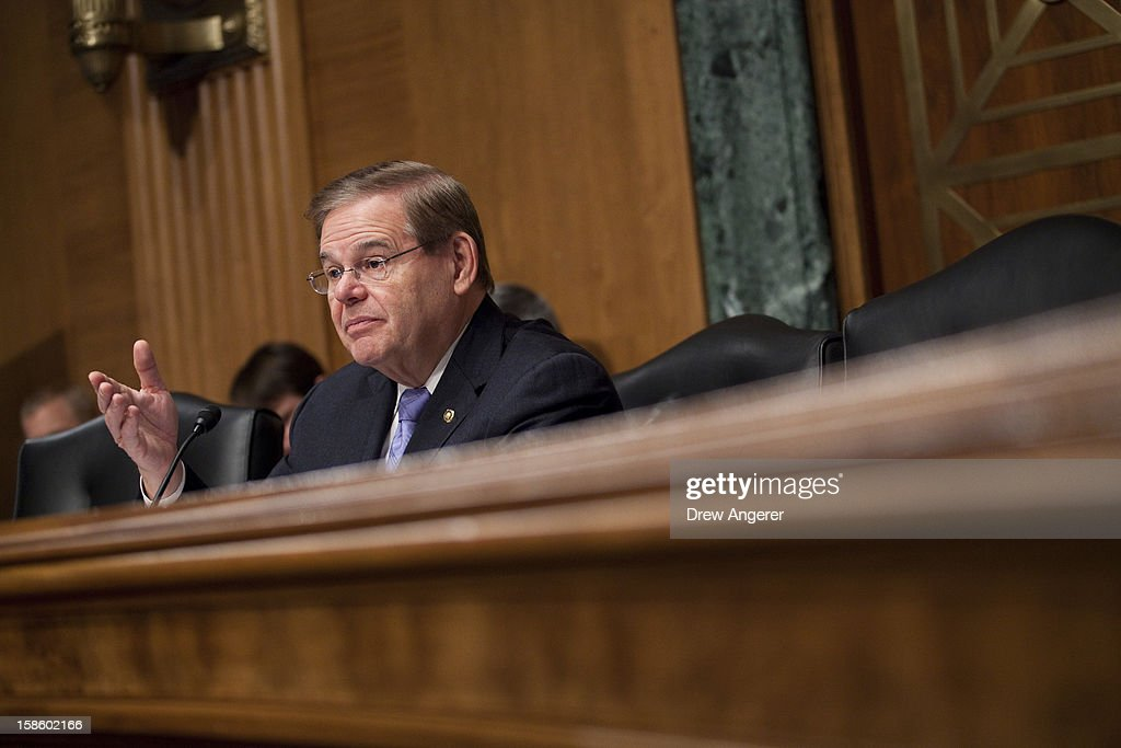 Senator Robert Menendez (D-NJ) speaks at the Senate Committee on Banking, Housing, and Urban Affairs Subcommittee on Housing, Transportation and Community Development hearing on 'Recovering From Superstorm Sandy: Rebuilding our Housing and Transportation Infrastructure' on Capitol Hill, December 20, 2012 in Washington, DC. The hearing focused on how the storm affected infrastructure in the Northeast and how to better prepare for future situations.