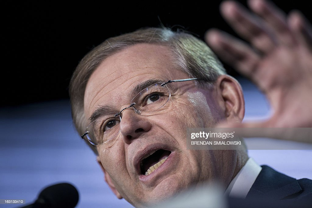 Senator Robert Menendez (D-NJ) speaks during the final day of the American Israel Public Affairs Committee's (AIPAC) annual meeting at the Washington Convention Center March 5, 2013 in Washington, DC. Senate Foreign Relations Committee Chairman Robert Menendez (D-NJ) spoke to the group about the US Israeli relationship, mideast issues and the possibility of an Iran armed with nuclear weapons. AFP PHOTO/Brendan SMIALOWSKI