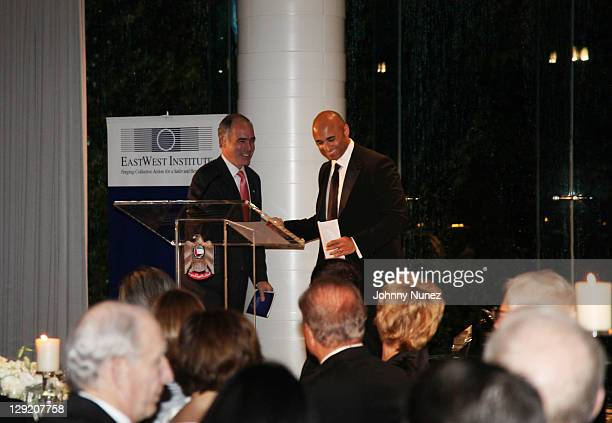 Senator Robert P Casey Jr and Ambassador Yousef Al Otaiba attend the 2011 East West Institute Dinner at the United Arab Emirates Embassy on October...