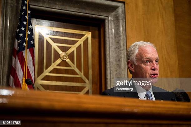 Senator Ron Johnson a Republican from Wisconsin speaks during a Senate Homeland Security and Governmental Affairs Committee hearing in Washington DC...