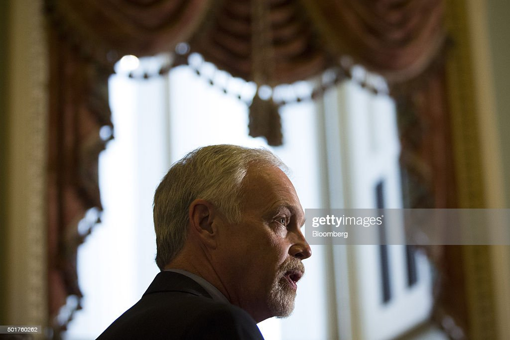 Senator <a gi-track='captionPersonalityLinkClicked' href=/galleries/search?phrase=Ron+Johnson+-+Politician&family=editorial&specificpeople=12902569 ng-click='$event.stopPropagation()'>Ron Johnson</a>, a Republican from Wisconsin, speaks during a press conference on Capitol Hill in Washington, D.C., U.S., on Thursday, Dec. 17, 2015. 'This legislation represents a critical step forward,' and is worthy of lawmakers' support, Senate Majority Leader Mitch McConnell said. Photographer: Drew Angerer/Bloomberg via Getty Images