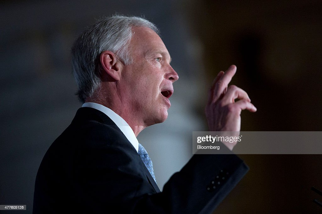 Senator Ron Johnson, a Republican from Wisconsin, speaks during the Faith and Freedom Coalition's 'Road to Majority' legislative luncheon in Washington, D.C., U.S., on Thursday, June 18, 2015. The annual Faith & Freedom Coalition Policy Conference gives top-tier presidential contenders as well as long shots a chance to compete for the large evangelical Christian base in the crowded Republican primary contest. Photographer: Andrew Harrer/Bloomberg via Getty Images