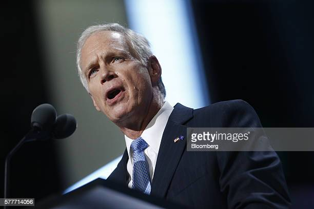 Senator Ron Johnson a Republican from Wisconsin speaks during the Republican National Convention in Cleveland Ohio US on Tuesday July 19 2016 Donald...