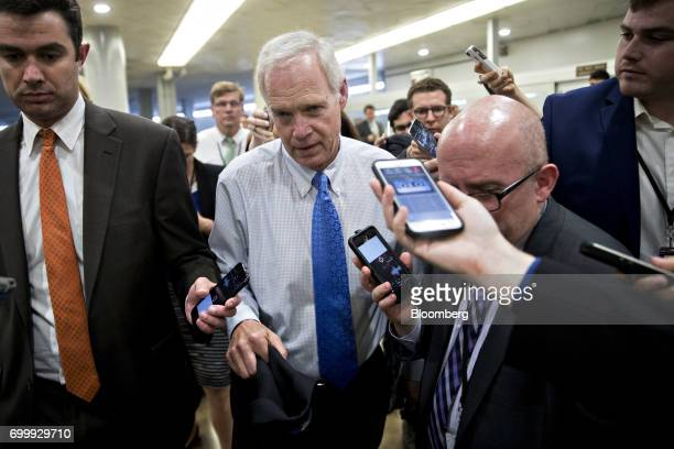 Senator Ron Johnson a Republican from Wisconsin speaks to members of the media in the basement of the US Capitol in Washington DC US on Thursday June...