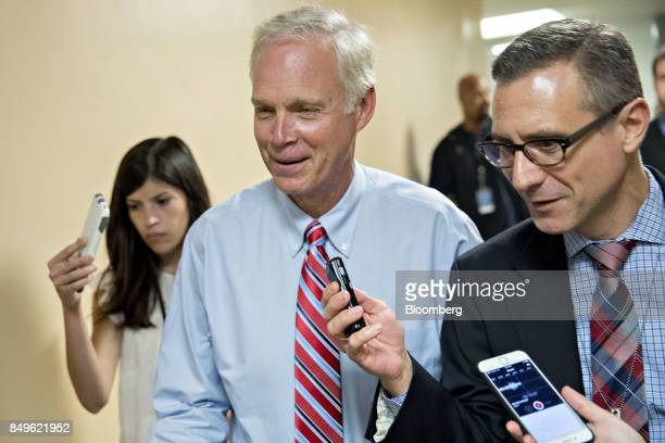 Senator Ron Johnson a Republican from Wisconsin speaks to members of the media in the basement of the US Capitol in Washington DC US on Tuesday Sept...