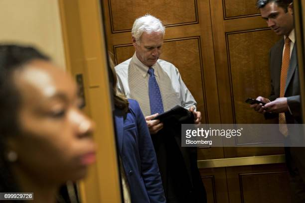 Senator Ron Johnson a Republican from Wisconsin stands inside an elevator in the basement of the US Capitol in Washington DC US on Thursday June 22...