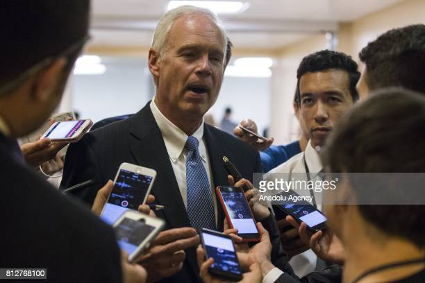 Senator Ron Johnson is surrounded by reporters asking about the state of the Republican Healthcare Bill and recent revelations about Donald Trump...