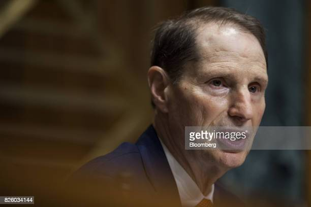 Senator Ron Wyden a Democrat from Oregon and ranking member of the Senate Finance Committee speaks during a Senate Finance Committee nomination...