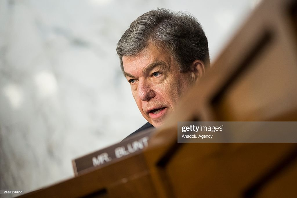 Senator Roy Blunt questions the witnesses during a Senate Intelligence Committee hearing in Washington, USA on February 9, 2016.