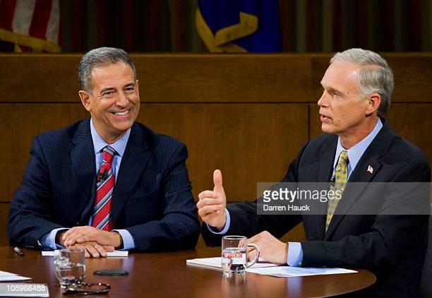 Senator Russ Feingold and Republican candidate Ron Johnson discuss topics as they take part in the Senatorial debate held at Marquette University Law...
