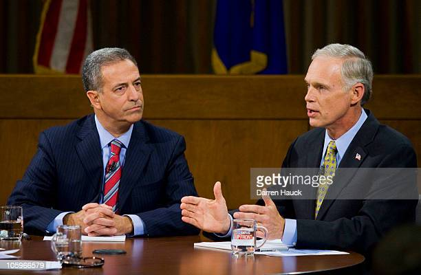 Senator Russ Feingold and Republican candidate Ron Johnson discuss topics as they take part in the Senatorial debate at Marquette University Law...