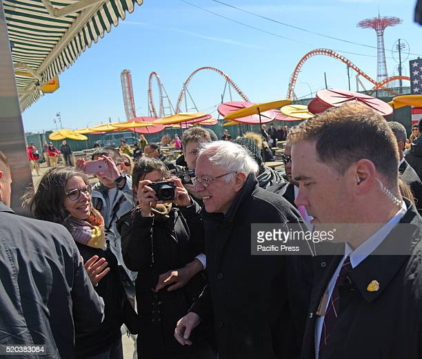 Senator Sanders enters Nathan's Famous after making his speech Democratic presidential candidate Bernie Sanders addressed supporters on the Coney...