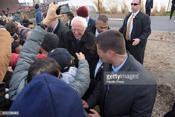 Senator Sanders greets supporters after speech at WNYC Transmitter Park Senator Bernie Sanders addressed a rally in Greenpoint Brooklyn's WNYC...