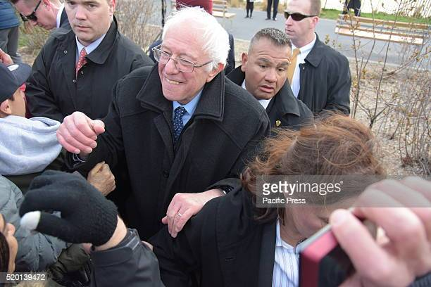 Senator Sanders greets supporters after speech Senator Bernie Sanders addressed a rally in Greenpoint Brooklyn's WNYC Transmitter Park attended by...