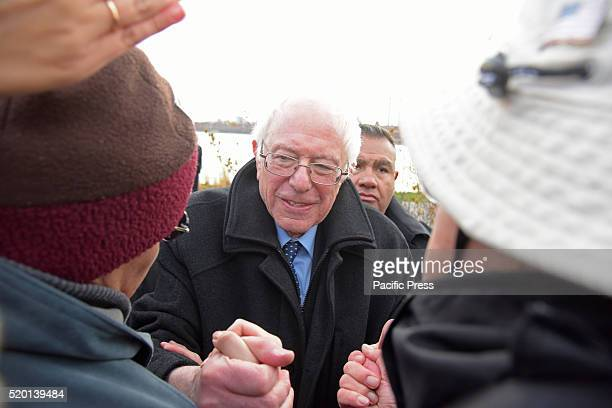Senator Sanders greets supporters in WNYC Transmitter Park after speech Senator Bernie Sanders addressed a rally in Greenpoint Brooklyn's WNYC...