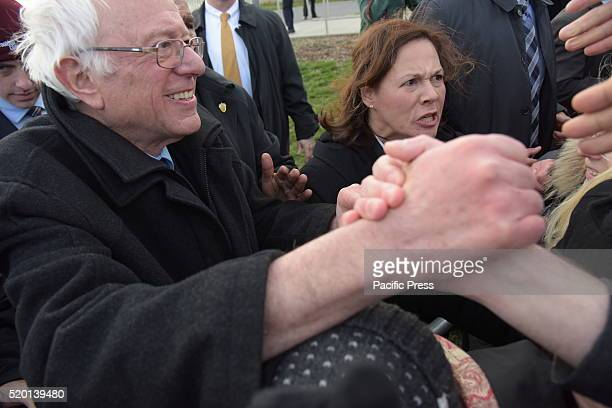 Senator Sanders wife Jane O'Meara Sanders greet supporters after speech Senator Bernie Sanders addressed a rally in Greenpoint Brooklyn's WNYC...