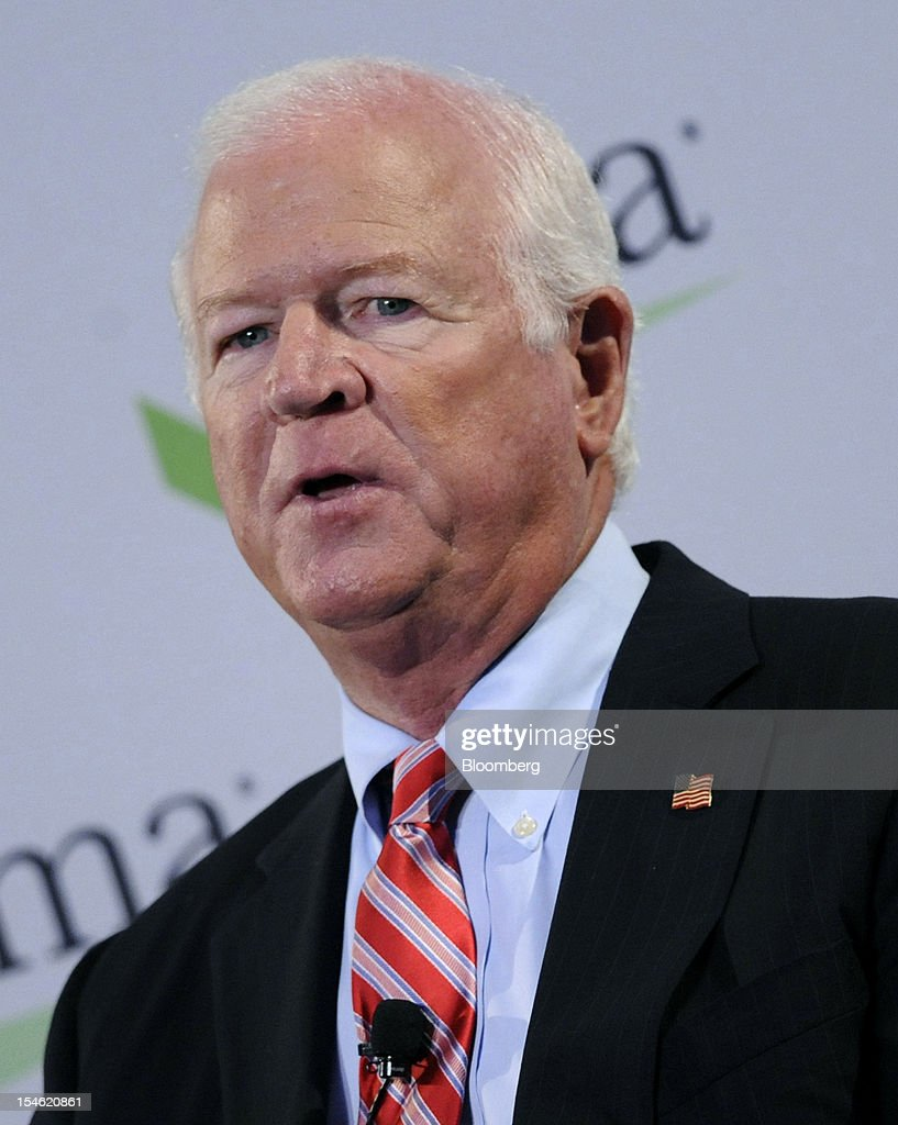 Senator Saxby Chambliss, a Republican from Georgia, speaks at the Securities Industry and Financial Markets Association (SIFMA) annual meeting in New York, U.S., on Tuesday, Oct. 23, 2012. Timothy Ryan, chief executive officer of SIFMA, said the so-called Volcker rule has the 'most complexity risk' among the new Dodd-Frank financial regulations. Photographer: Peter Foley/Bloomberg via Getty Images