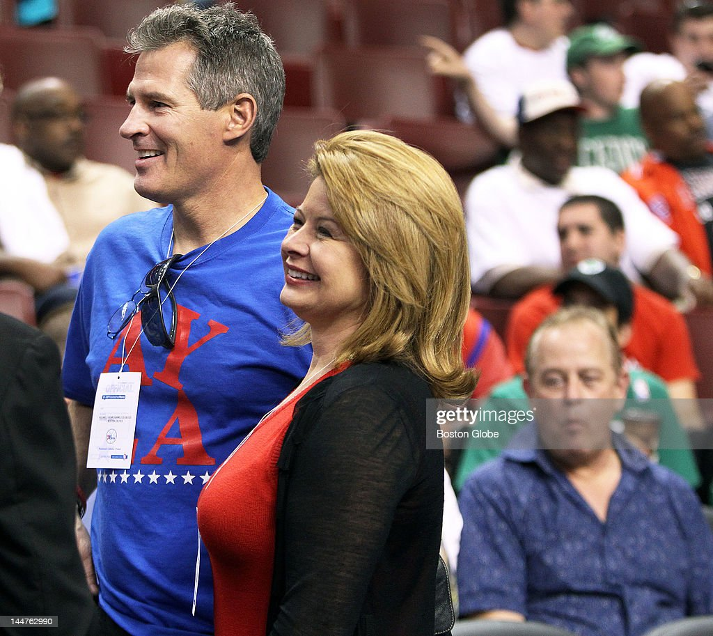 Senator Scott Brown (R-MA) and his wife, Gail Huff, attended Game Four of the NBA Eastern Conference Semi-Finals playoffs between the Boston Celtics and the Philadelphia 76ers at the Wells Fargo Center. They are seen here before the game started.