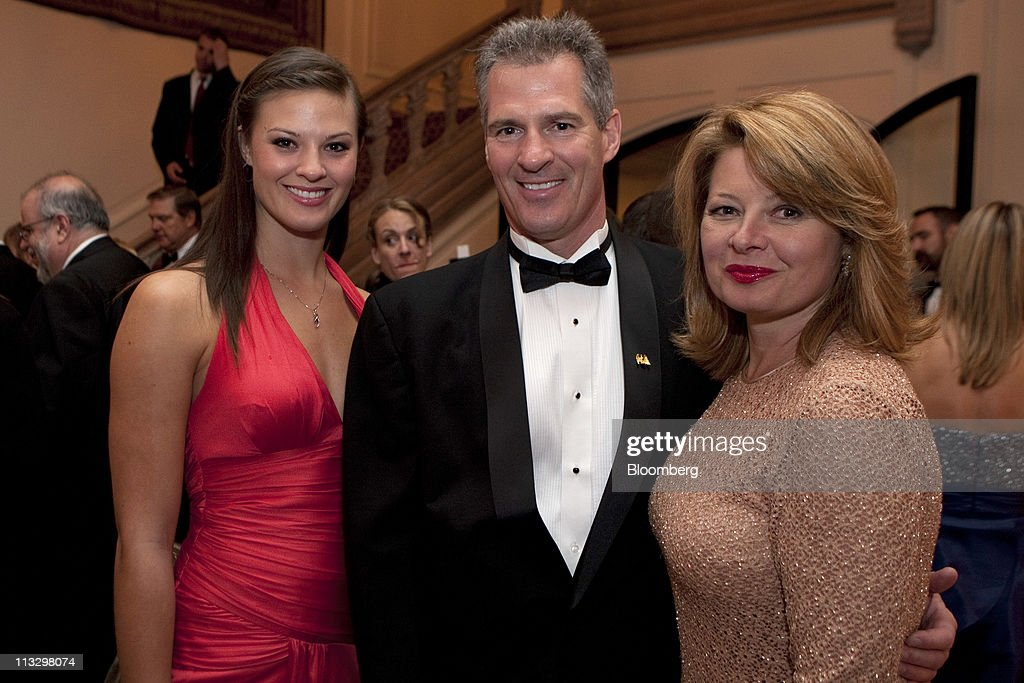 U.S. Senator Scott Brown, center, hs wife Gail Huff, right, and their daughter <a gi-track='captionPersonalityLinkClicked' href=/galleries/search?phrase=Ayla+Brown&family=editorial&specificpeople=574940 ng-click='$event.stopPropagation()'>Ayla Brown</a> attend the Bloomberg Vanity Fair White House Correspondents' Association (WHCA) dinner afterparty in Washington, D.C., U.S., on Saturday, April 30, 2011. The dinner raises money for WHCA scholarships and honors the recipients of the organization's journalism awards. Photographer: Joshua Roberts/Bloomberg via Getty Images