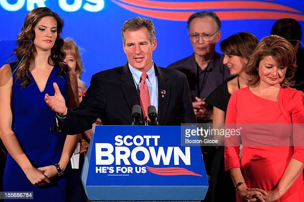 Senator Scott Brown conceded the election for United States Senate to his challenger democrat Elizabeth Warren at his election results rally at the...