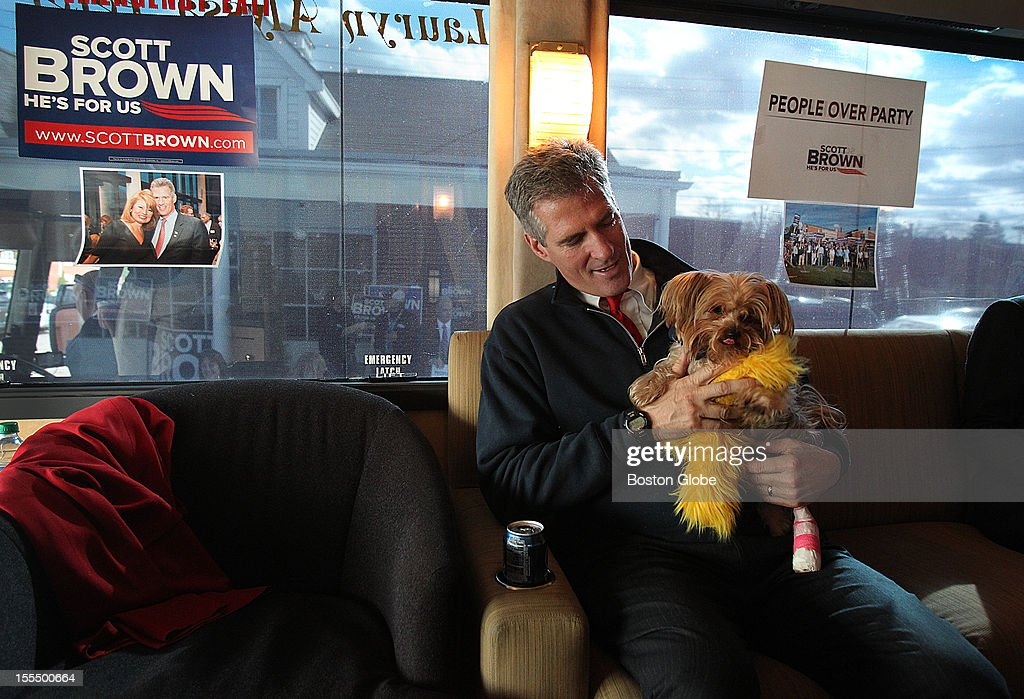 Senator Scott Brown is in a bus for the next days. Senator Scott Brown relaxes or a moment with one of his dogs, Koda. He is in a bus for the next few days and made a campaign stop at the Bella Costa Restaurant. Koda has a broken foot and is in a cast.