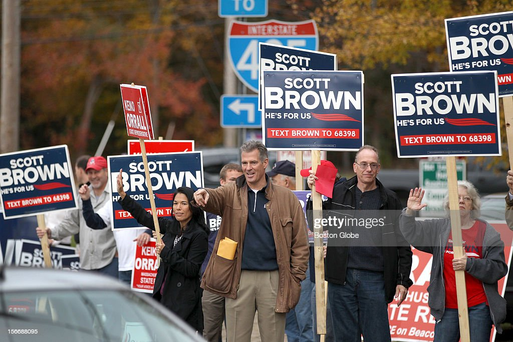 Senator Scott Brown participating in a roadside campaign 'standout' greeting commuters in Middleboro.