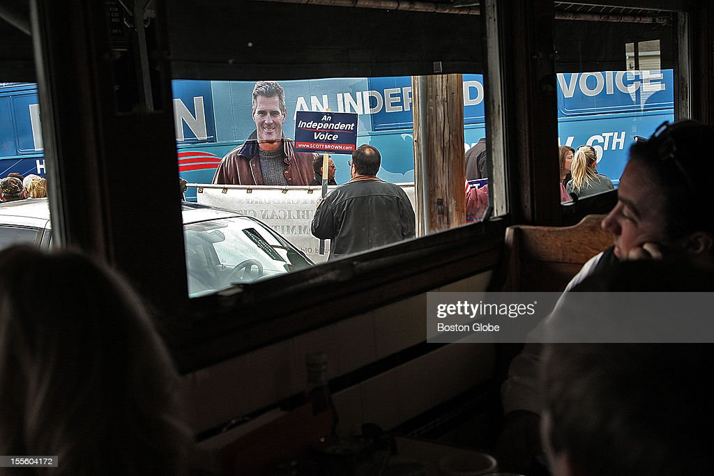Senator Scott Brown's bus pulled up to Moran Square Diner for a campaign stop the day before the election.