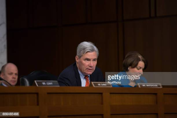 US Senator Sheldon Whitehouse questions President Trump's Supreme Court nominee Judge Neil Gorsuch as US Senator Amy Klobuchar listens on day two of...