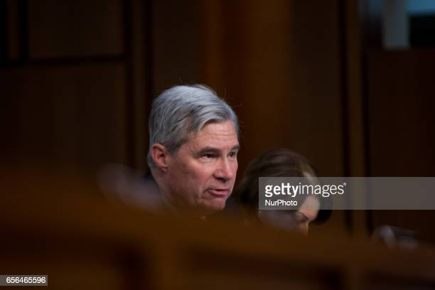 US Senator Sheldon Whitehouse questions President Trump's Supreme Court nominee Judge Neil Gorsuch on day two of his confirmation hearings in front...