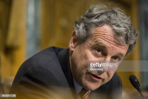Senator Sherrod Brown a Democrat from Ohio delivers opening remarks during a Senate Finance Committee confirmation hearing for Robert Lighthizer US...
