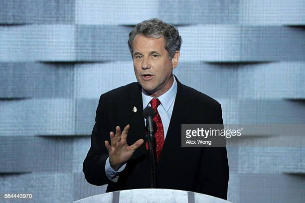 S Senator Sherrod Brown delivers remarks on the fourth day of the Democratic National Convention at the Wells Fargo Center July 28 2016 in...