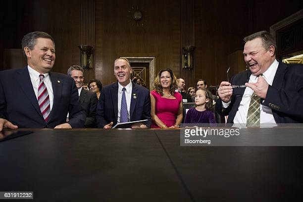 Senator Steve Daines a Republican from Montana from left Representative Ryan Zinke US secretary of interior nominee for presidentelect Donald Trump...