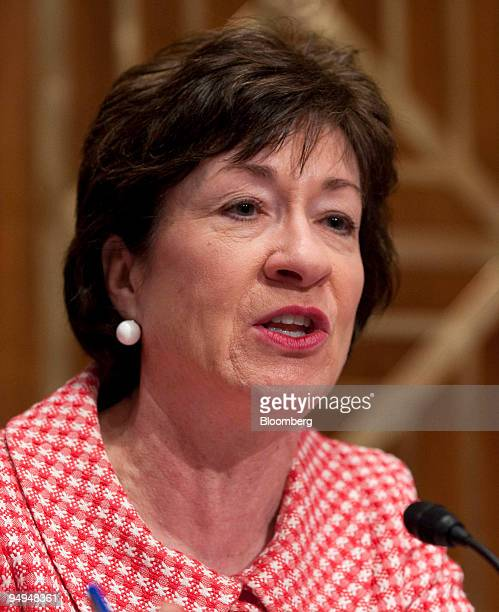 Senator Susan Collins a Republican from Maine questions witnesses about the government response to the swine flu outbreak at a hearing of the Senate...
