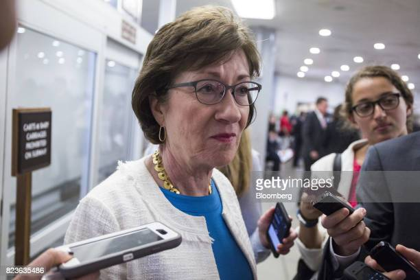 Senator Susan Collins a Republican from Maine speaks to members of the media near the Senate Subway in Washington DC US on Thursday July 27 2017...