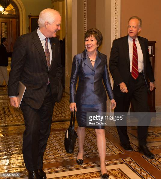 Senator Susan Collins center and Sen John Cornyn left walk through the halls of the US Capitol after a caucus meeting with fellow republicans...