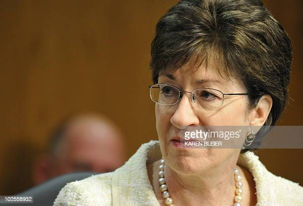 Senator Susan Collins RME is seen during the Senate Interior Environment and Related Agencies Subcommittee hearing on June 23 2010 on Capitol Hill In...