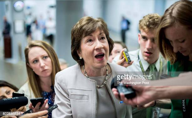 WASHINGTON DC Senator Susan Collins Senators rush through a sea of journalists to their policy luncheons before an afternoon procedural vote on the...